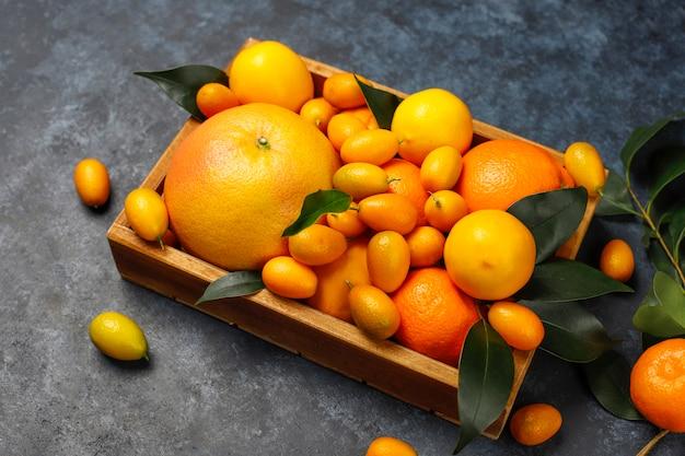 Różne świeże owoce cytrusowe w koszyku do przechowywania żywności, cytryny, pomarańcze, mandarynki, kumkwaty, grejpfruty, widok z góry