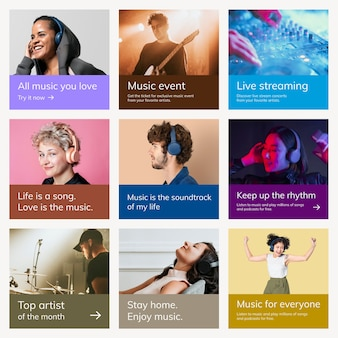 Różne szablony reklam muzycznych psd dla zestawu postów w mediach społecznościowych