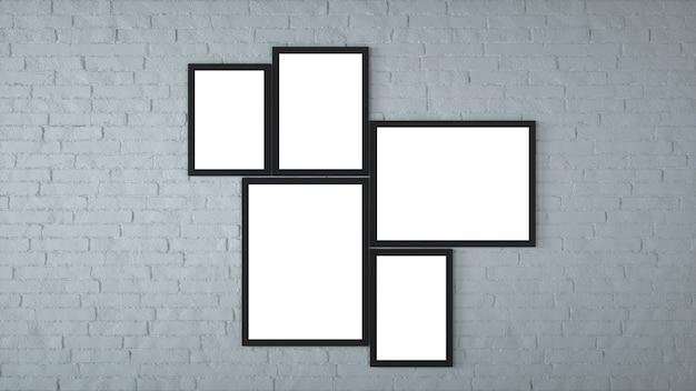 Różnej wielkości oprawione zdjęcia wiszące na szarej ścianie. renderowanie 3d.
