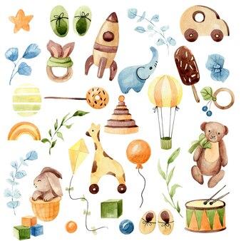Różnorodne ilustracje akwareli zabawek dla dzieci