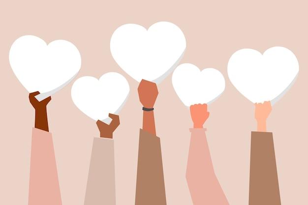 Różnorodne ręce wznoszące serca wspierają post w mediach społecznościowych kampanii blm