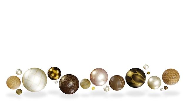 Różnorodność błyszczących kulistych kul unoszących się w powietrzu na białym tle geometrycznej 3d