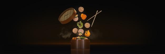 Różnorodność dim sum w bambusowych pojemnikach parowych renderowanie 3d