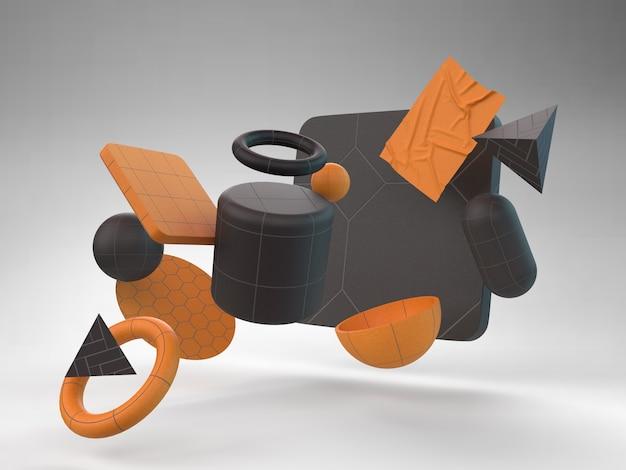Różnorodność geometrycznych kształtów z szarym tłem 3d abstrakcyjne matowe błyszczące czarne zdjęcie premium