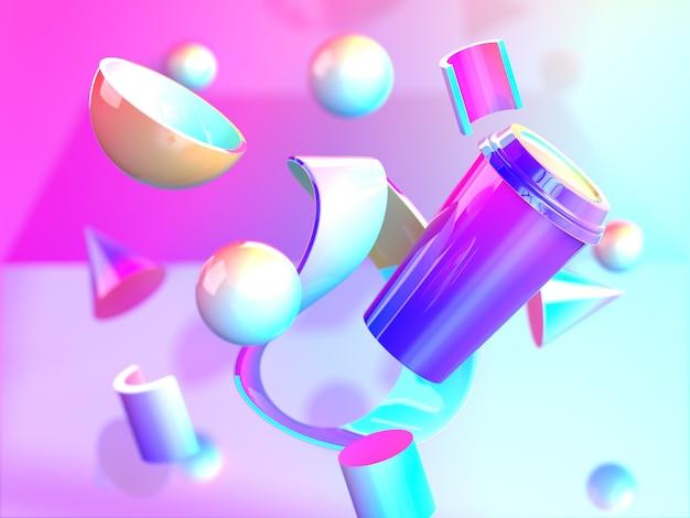 Różnorodność kolorowych kształtów geometrycznych z gradientowym kolorem 3d abstrakcyjne różowe niebieskie zdjęcie premium