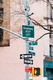 Różnorodność wskaźników na słupku ulicy