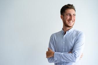 Rozochocony biznesmen cieszy się sukces