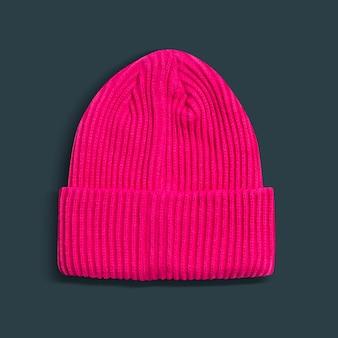 Różowa czapka z mankietem damskie zimowe akcesoria