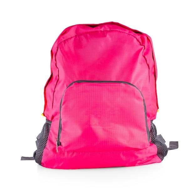 Różowa damska torba sportowa na białym tle