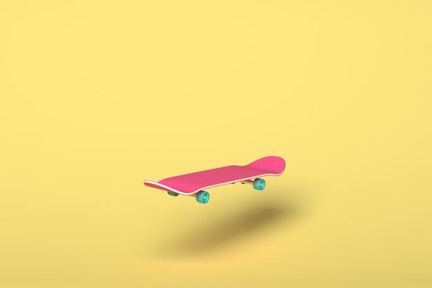 Różowa deskorolka z niebieskimi kołami na żółtym tle