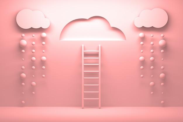 Różowa drabina prowadząca do czystego nieba z chmurami i padającym deszczem