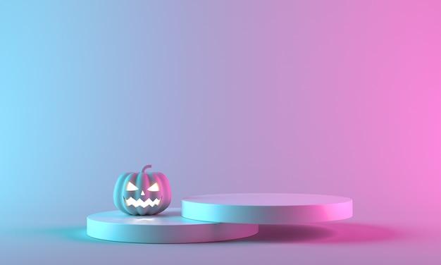 Różowa dynia halloween do świętowania luksusowego halloween. koncepcja minimalistycznego stylu szablonu. renderowanie 3d