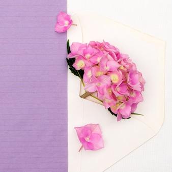 Różowa hortensja w kopercie na białym tle. kartkę z życzeniami z miejscem na projekt.
