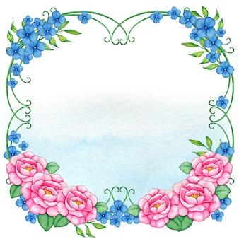 Różowa i niebieska bajkowa ramka w kwiaty