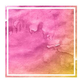 Różowa i pomarańczowa ręka rysująca akwareli prostokątna ramowa tło tekstura z plamami