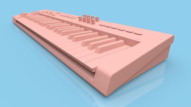 Różowa klawiatura midi syntezatora