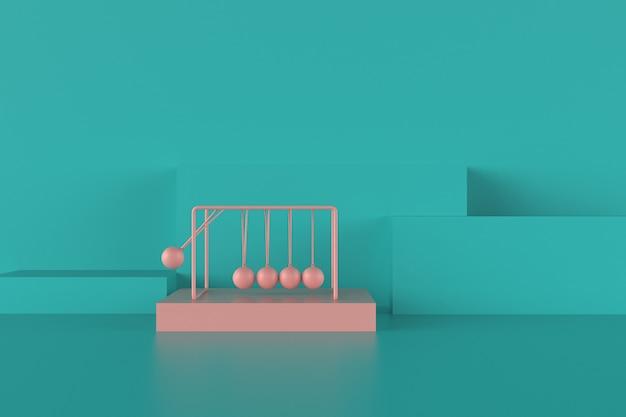Różowa kołyska newtona z niebieską kompozycją postaci