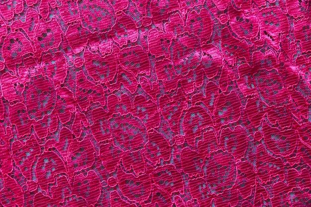 Różowa koronkowa bezszwowa deseniowa tkanina