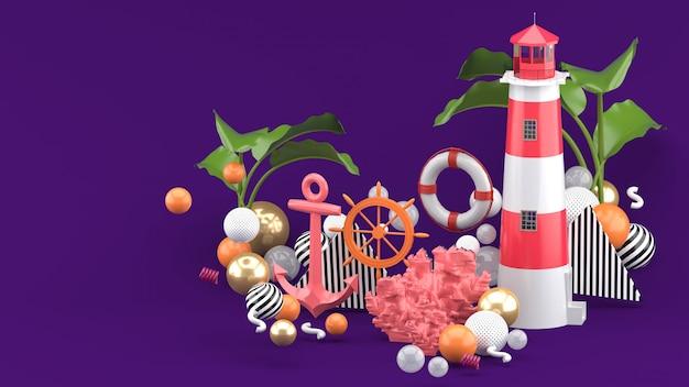 Różowa kotwica, boia i latarnia morska wśród kolorowych kulek na fioletowym tle. renderowania 3d.