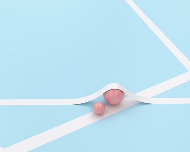 Różowa kula kulkowa i biały kształt geometrii linii na niebieskim pastelowym tle
