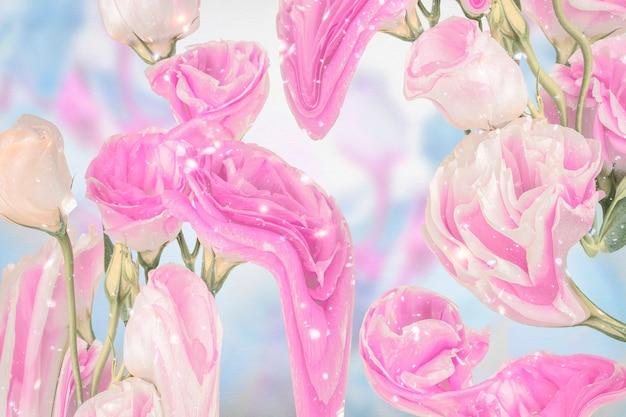 Różowa kwiecista tapeta w tle, trippy estetyczny design