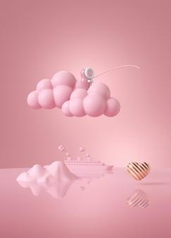 Różowa lalka eskimo łowiąca miłość na różowej chmurze