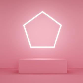 Różowa ławka z pięciokątnym światłem neonowym