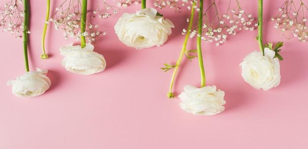 Różowa moda, kwiaty płaskie leżały na dzień matki, urodziny, wielkanoc i ślub