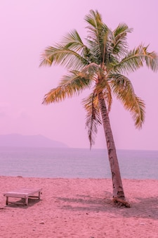 Różowa palma nad oceanem