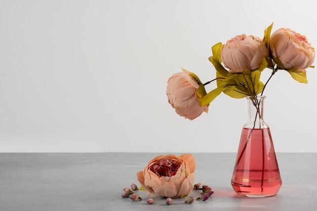 Różowa piwonia róża kwiaty w szklanym wazonie na szarym stole