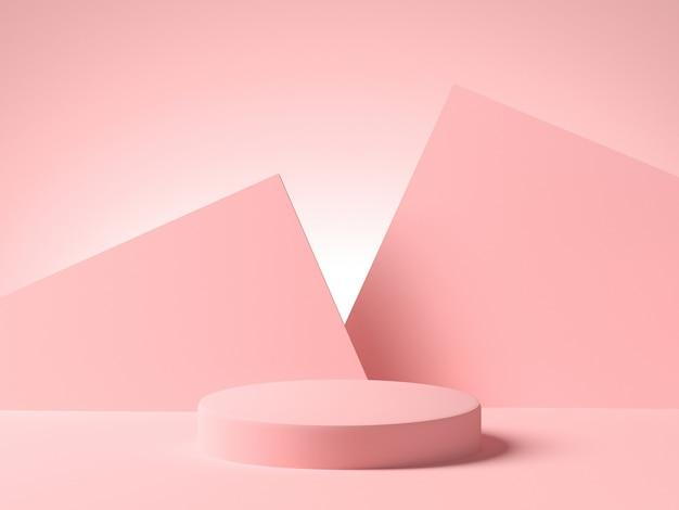 Różowa pusta platforma z różowymi geometrycznymi kształtami na tle. minimalistyczny styl, miejsce na kopię. renderowanie 3d