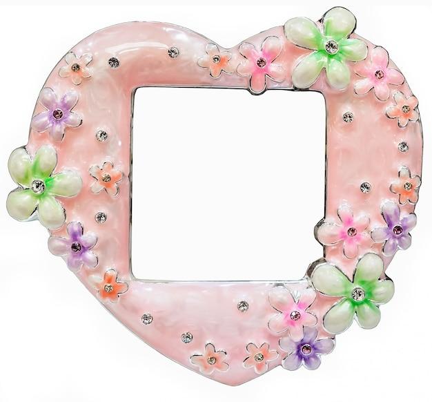Różowa ramka na zdjęcia inkrustowana kryształkami w kształcie serca