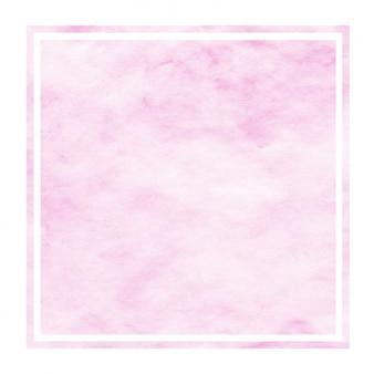 Różowa ręka rysująca akwareli prostokątna ramowa tło tekstura z plamami