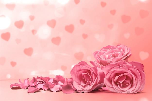 Różowa róża i płatki róż na różowym tle
