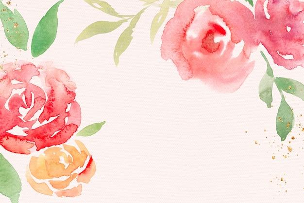 Różowa Róża Rama Tło Wiosna Akwarela Ilustracja Darmowe Zdjęcia