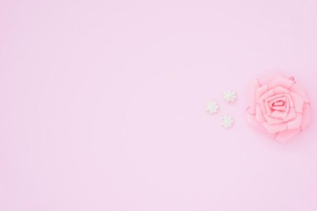 Różowa róża z wstążką na różowym tle z miejscem na tekst