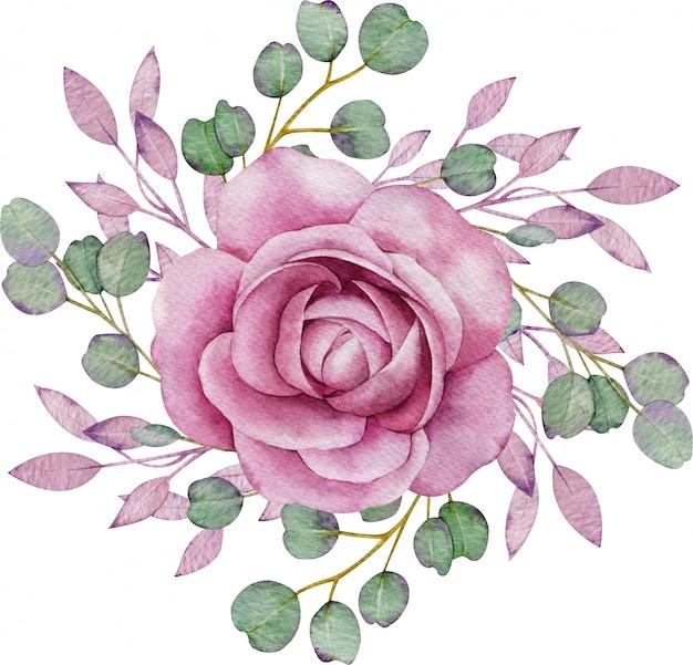 Różowa róża z zielonymi i różowymi liśćmi. kolorowa kompozycja kwiatowa akwarela. ręcznie rysowane ilustracji.