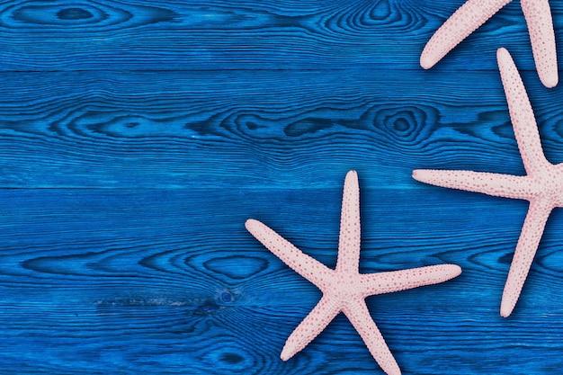 Różowa rozgwiazda na błękitnej drewnianej tło kopii przestrzeni.
