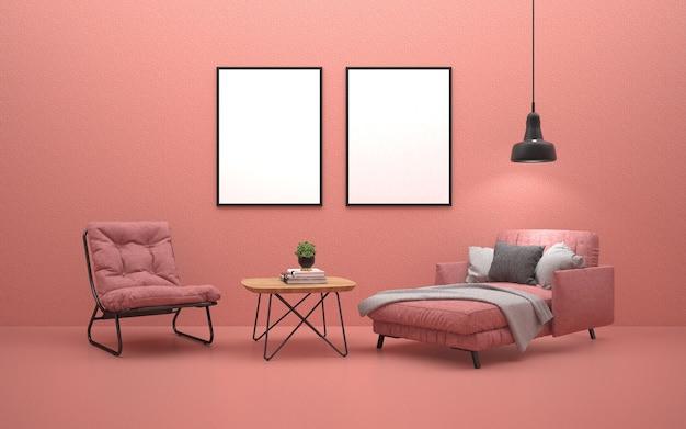 Różowa rozkładana sofa i różowy fotel w salonie z plakatami na ścianie