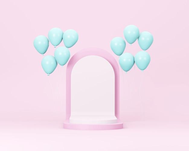 Różowa scena podium na stoisku z niebieskim balonem minimalny szablon pastelowych kolorów