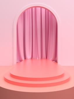 Różowa scena produktu lub podium z zasłoną na baner promocyjny lub prezentację. ilustracja 3d