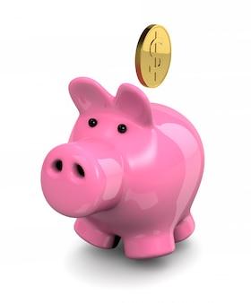 Różowa skarbonka i moneta