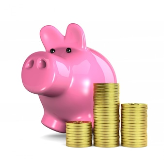 Różowa skarbonka i monety