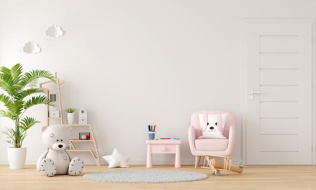 Różowa sofa i stół we wnętrzu pokoju dziecięcego z miejscem na kopię