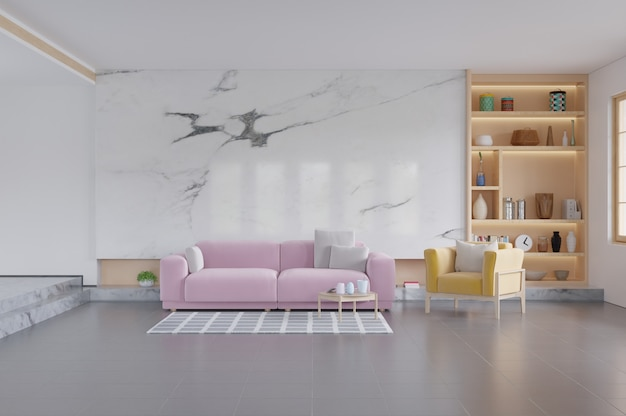 Różowa sofa i żółty fotel w salonie.