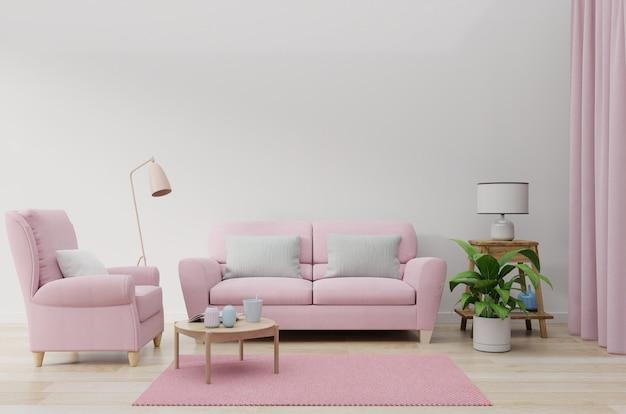 Różowa sofa w białym kolorze ściany salonu.
