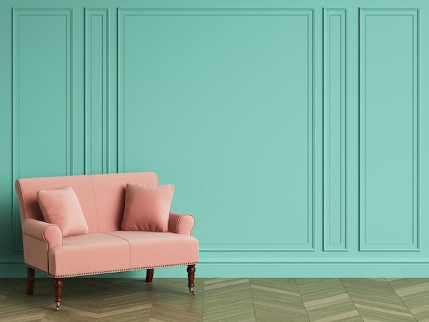 Różowa sofa w klasycznym wnętrzu z miejsca kopiowania. turkusowe ściany z listwami. parkiet podłogowy w jodełkę. renderowania 3d