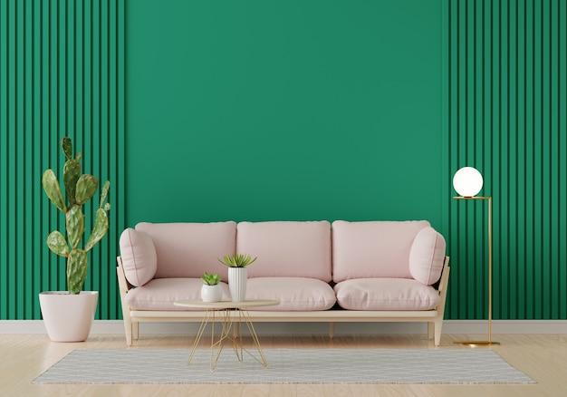Różowa sofa w zielonym wnętrzu salonu z miejsca na kopię