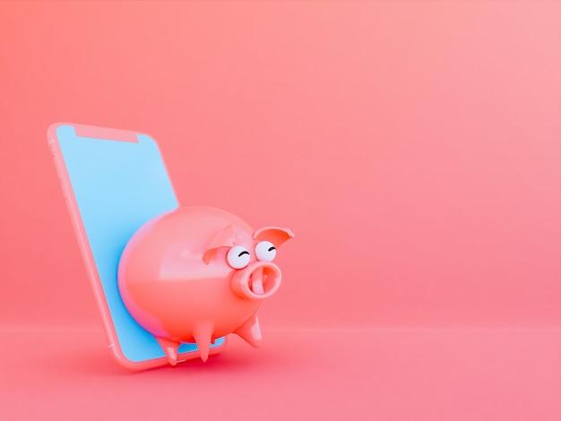 Różowa świnia z telefonem komórkowym, 3d odpłaca się