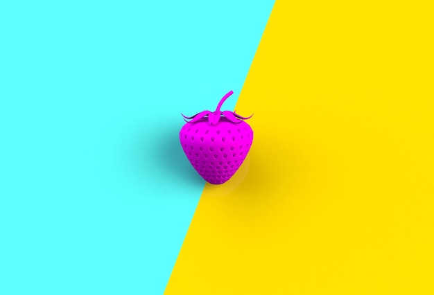 Różowa truskawka na błękitnym i żółtym tle, 3d rendering